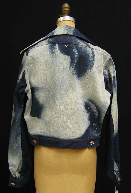 Vintage Fashion  1991 Vivienne Westwood Marlene Dietrich print denim Jacket  (back) 0b50cb9022f
