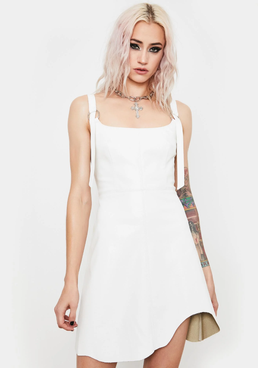 Power Chord Vegan Leather Dress Leather Dress Lace Up Leggings Dresses [ 1423 x 1000 Pixel ]