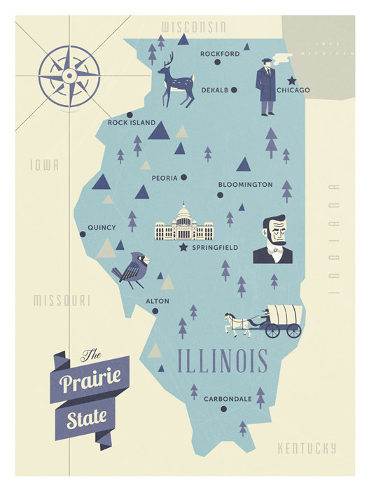 Celebrate Your Illinois Pride With This Map Featuring Symbolic - Chicago il on us map