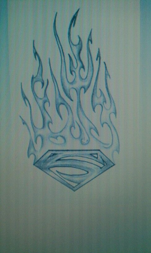 flaming superman tattoo design tattoos pinterest superman tattoos tattoo designs and tattoo. Black Bedroom Furniture Sets. Home Design Ideas