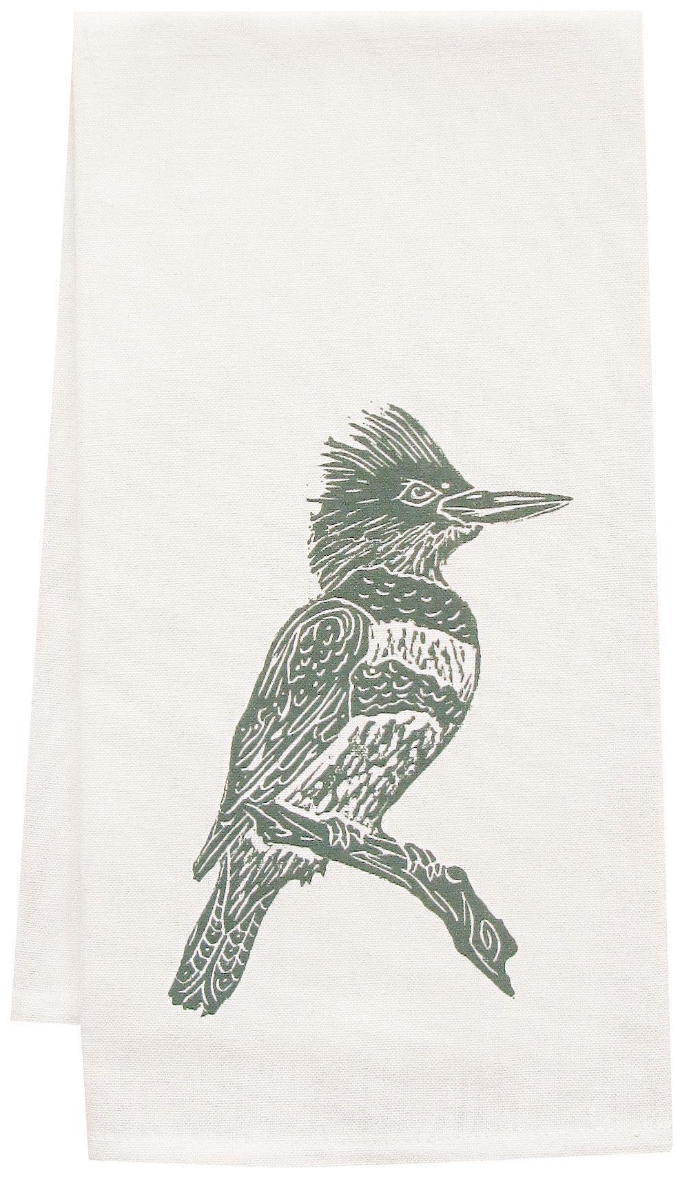 Organic Kingfisher Block Print Tea Towel