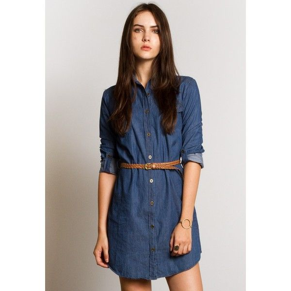 3932e0b0633 Sans Souci Chambray shirt dress ( 35) ❤ liked on Polyvore featuring  dresses