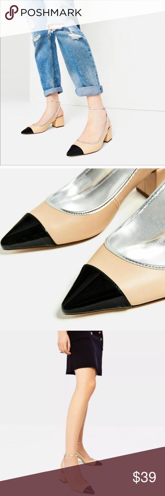 e78298986a ZARA contrast pointed toe chunky heels size 10 Brand new with tags, ZARA  contrast pointed toe chunky heels, size US 10 (41). Creamy camel body with  black ...