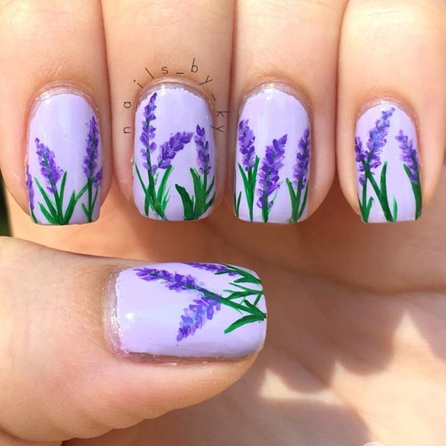Lavender Flowers For Easter And The First Week Of Spring Nails Nailart Lavendernails Lavenderflower Lavender Nails Simple Spring Nails Flower Nail Designs