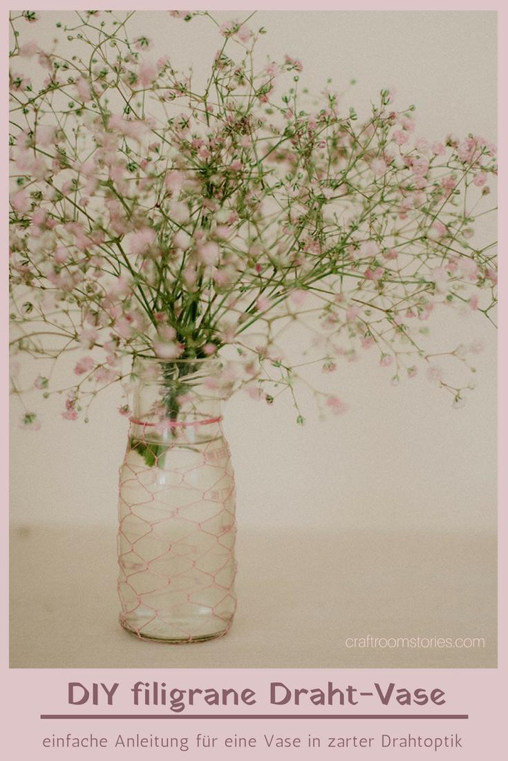 DIY Vase im Drahtnetz, Upcyling aus leeren Einmachgläsern und Draht ...