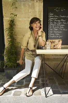 d6c9ae811b6 #camel #safari #shirt & #white #cropped #pants with black #sandals for  #ParisianChic