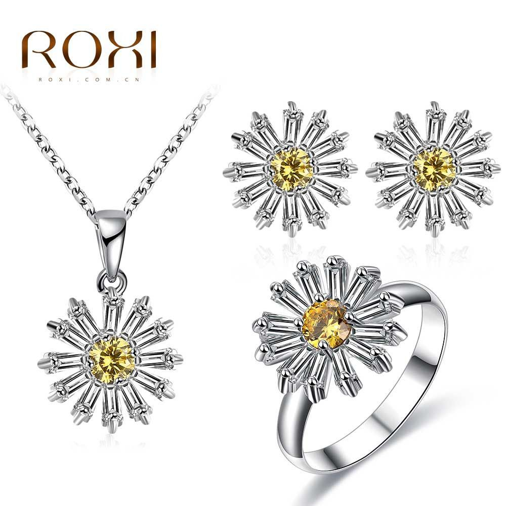 Roxi yellow flower crystal pendant necklace stud earring u ring