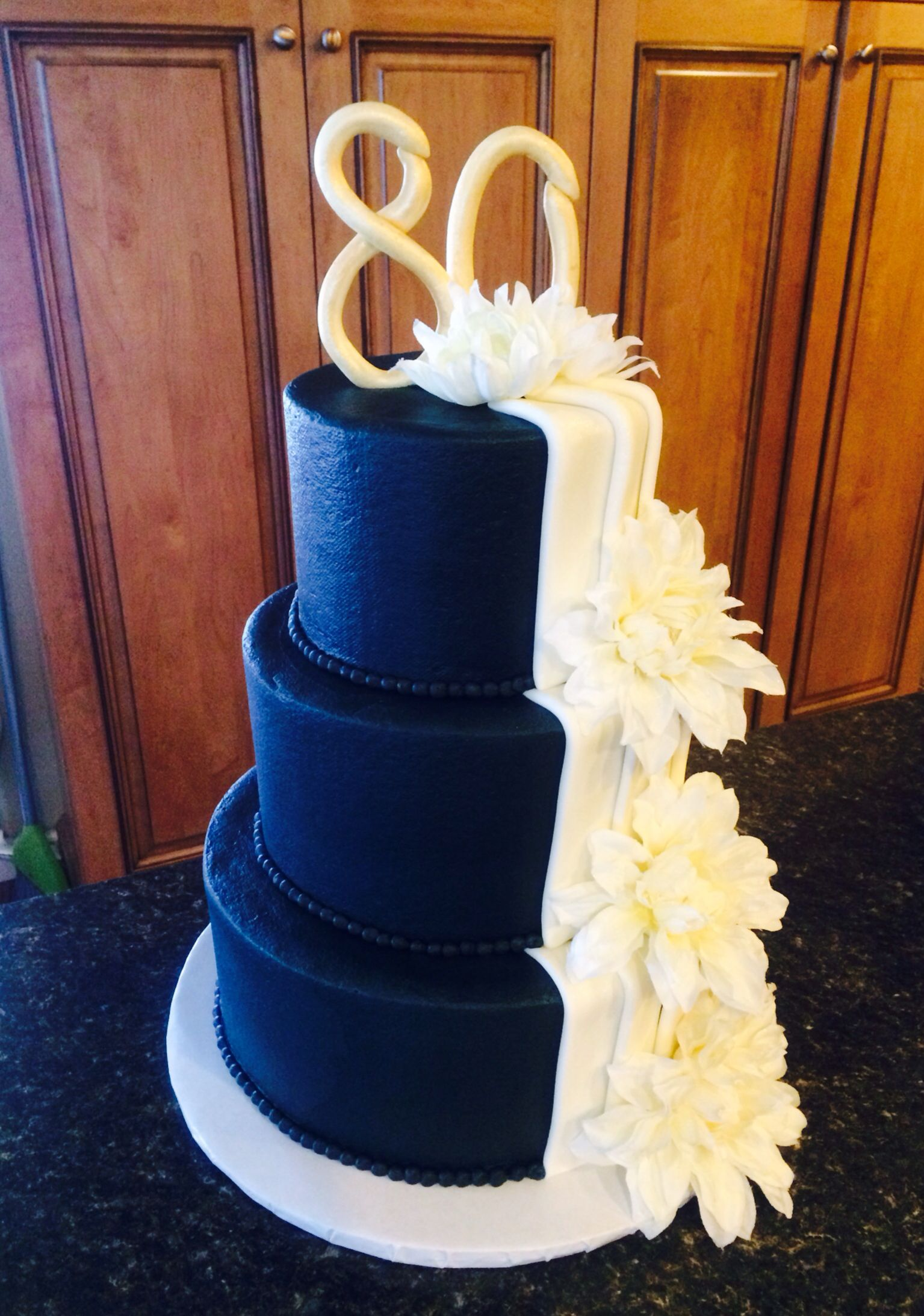 Elegant navy blue 80th birthday cake My Cakes Pinterest 80th