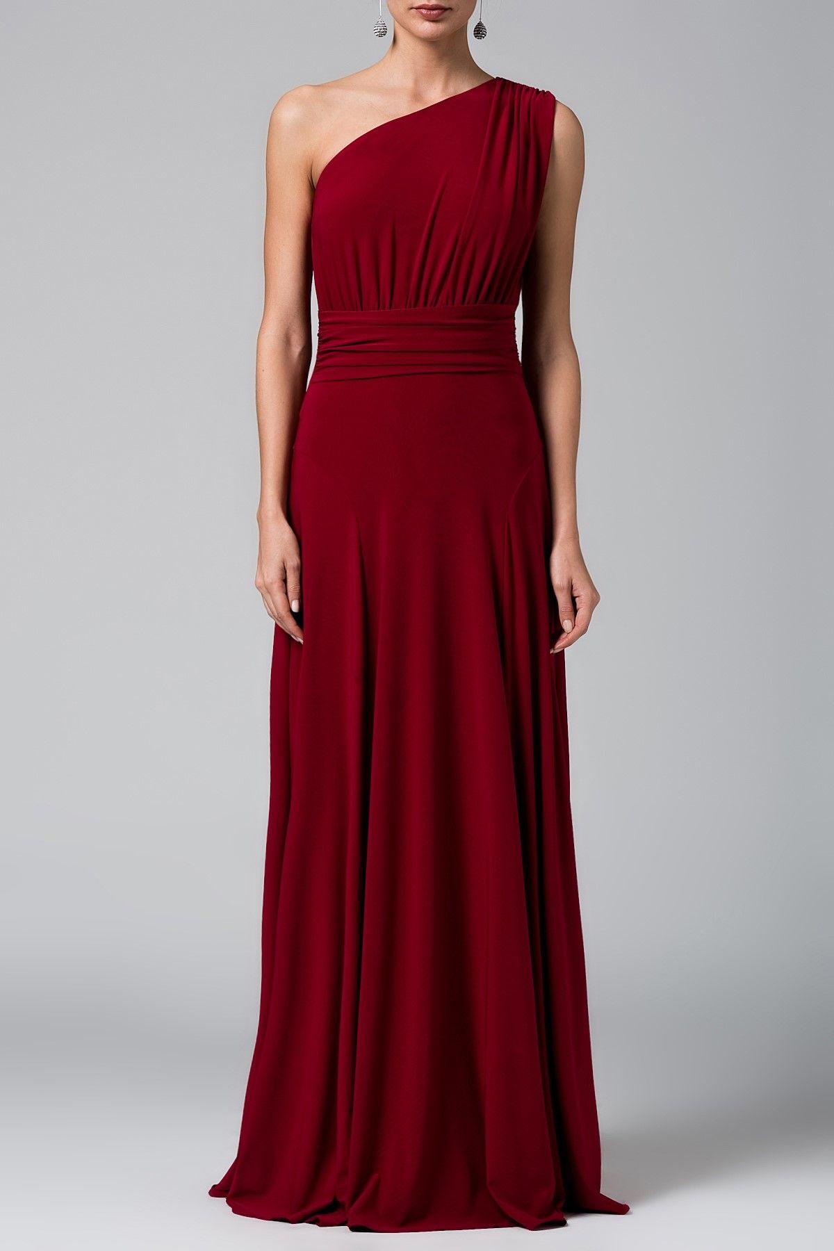 Drapeli Sarap Kirmizi Tek Omuz Abiye Elbise Mlwss16fz0487 Elbise The Dress Elbiseler
