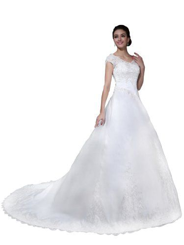 Topwedding Cathedral Train Appliqued Satin Bridal Princess Wedding Dress White S12 ** To view further for this item, visit the image link.
