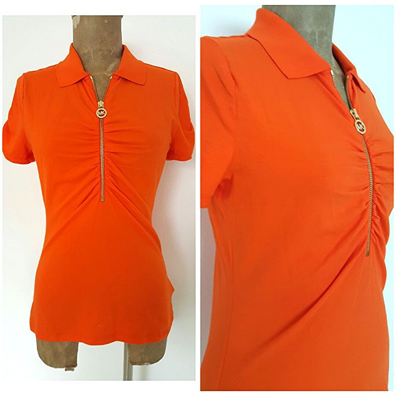 Michael Kors Top Size Small Orange Half Zip Ruched Sleeve Cotton Blend Shirt #MichaelKors #Blouse #Casual
