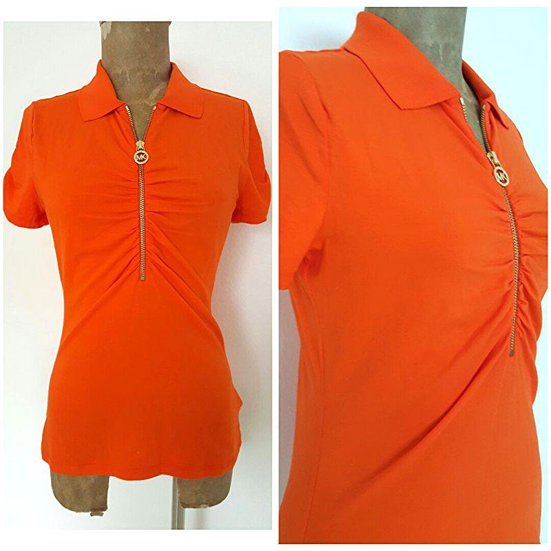 Michael Kors Top Size Small Orange Half Zip Ruched Sleeve Cotton Blend Shirt #MichaelKors #Blouse #Casual