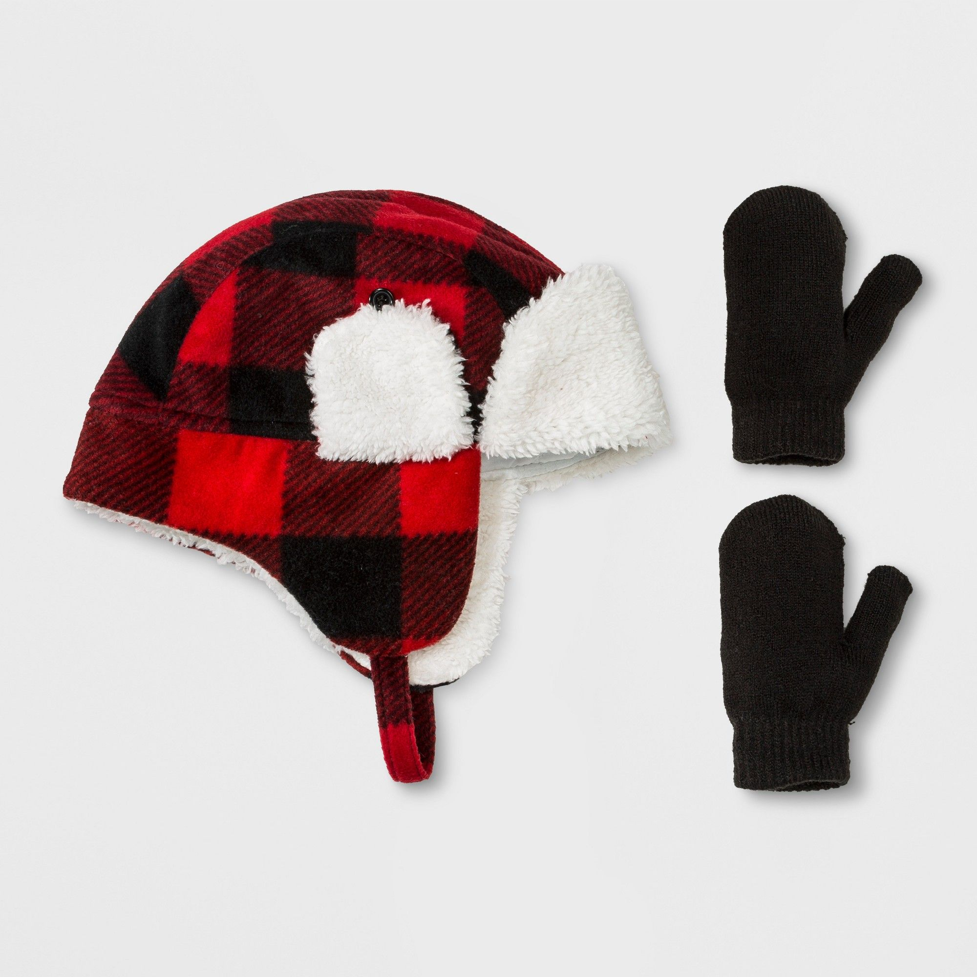 ade5d9ebe63 Toddler Checkered Fleece Trapper Hat and Mitten Set - Cat   Jack Red 2T-5T