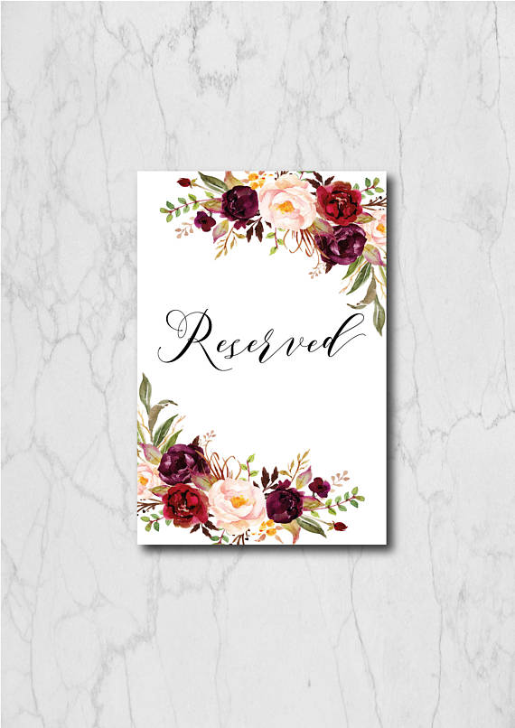 picture relating to Printable Reserved Signs for Wedding identify Burgundy Reserved Signal Portrait Printable, Reserved Symptoms