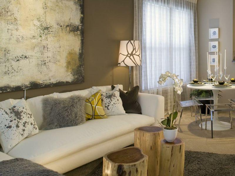 Salon moderno ideas de paredes de color marrón | Salón moderno ...