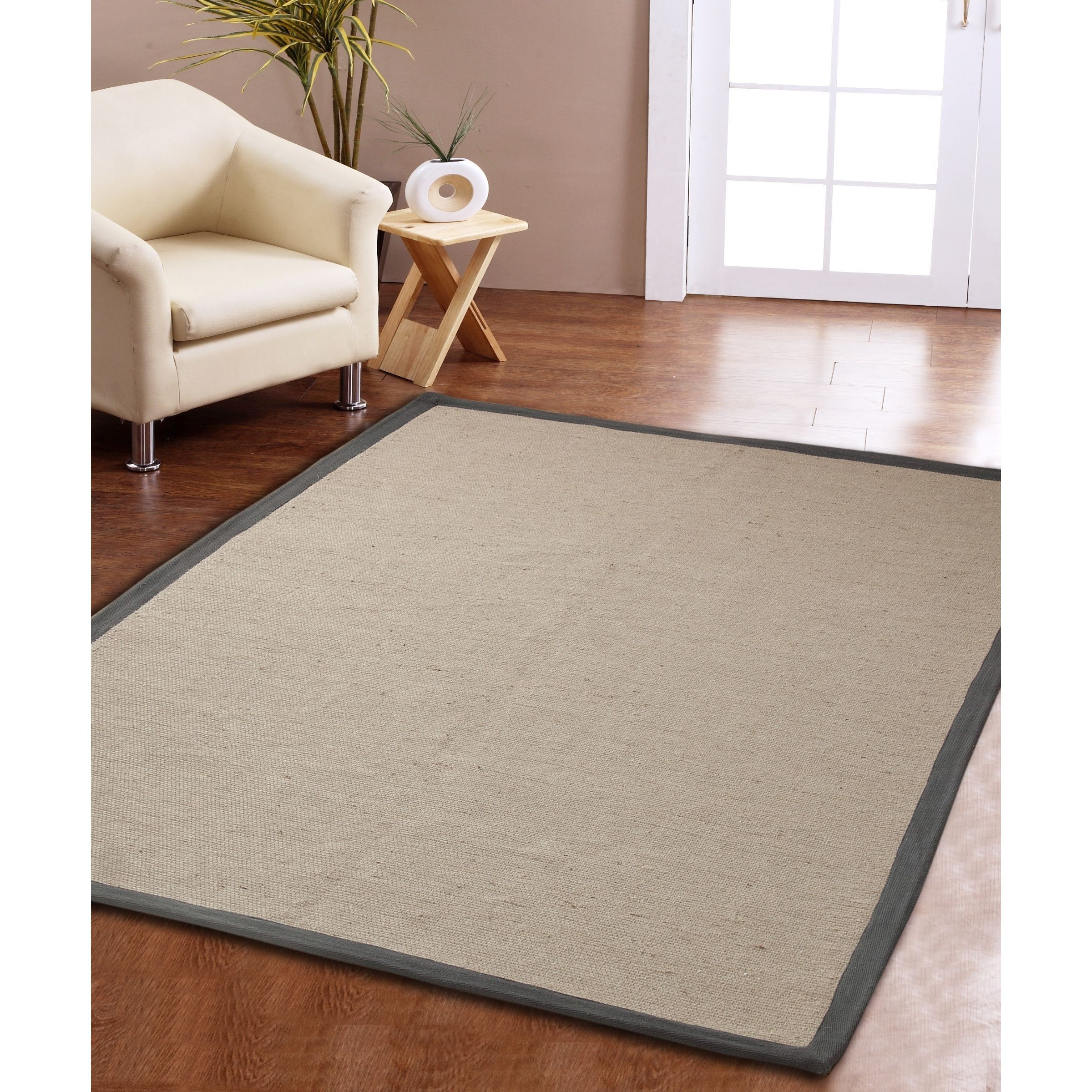 Affinity home collection eco natural cotton border jute rug u x