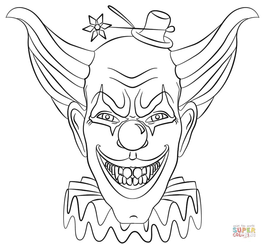 Evil Clown Face coloring page | Free Printable Coloring Pages ...