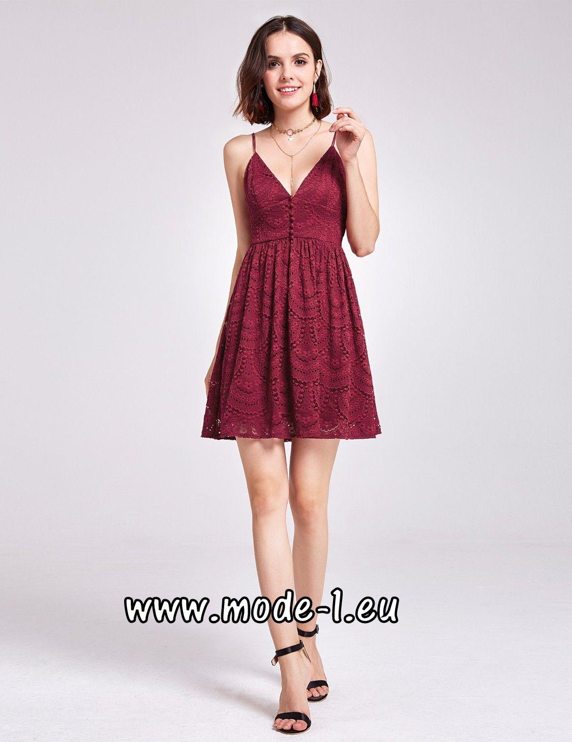Babydoll Kleid mit Spaghetti Träger in Dunkel Rot   Elegante Kleider ...