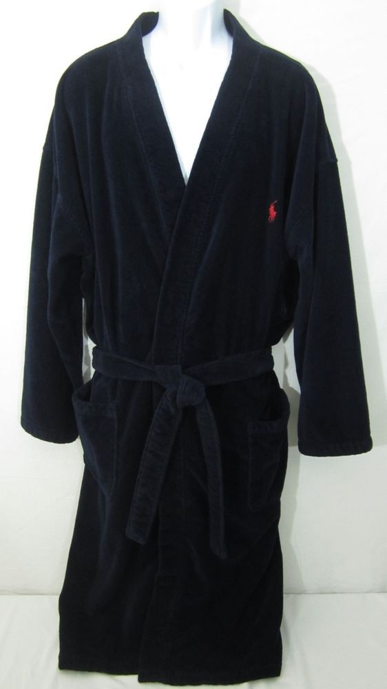 polo ralph lauren mens bath robe navy blue terry cloth cotton l xl red pony mens clothing. Black Bedroom Furniture Sets. Home Design Ideas