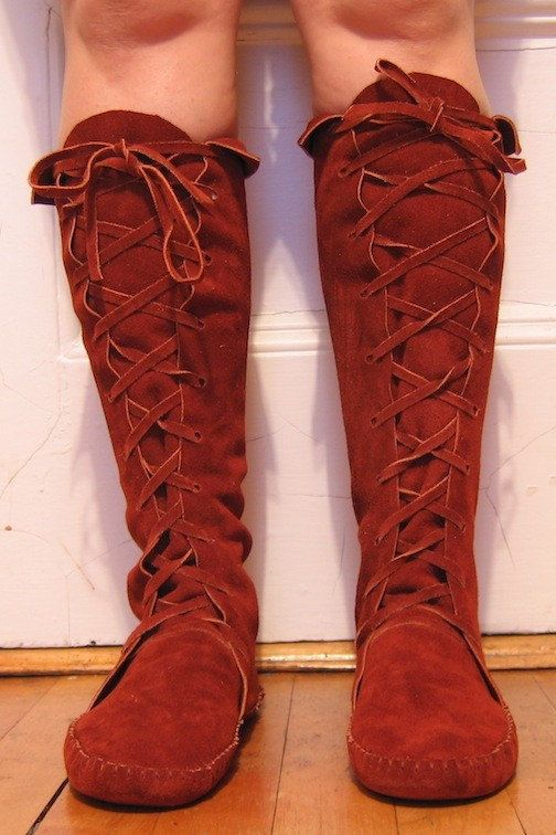 Earthgarden Elf BOOTS/Handmade Moccasins lace up by earthgarden