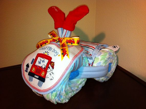 Diaper Tricycle/ Chief Fire Dog by KeepsakeCakes on Etsy, $45.00