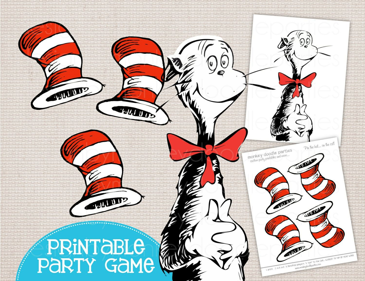 Adorable Pin the Hat on the Cat Dr Seuss Inspired Printable Party ...