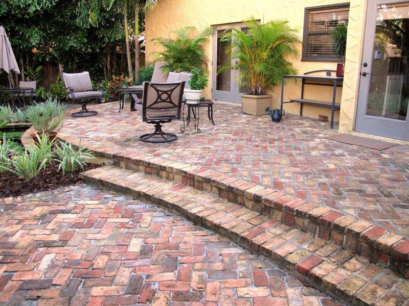 brick herringbone patio - concrete pavers & clay brick paver