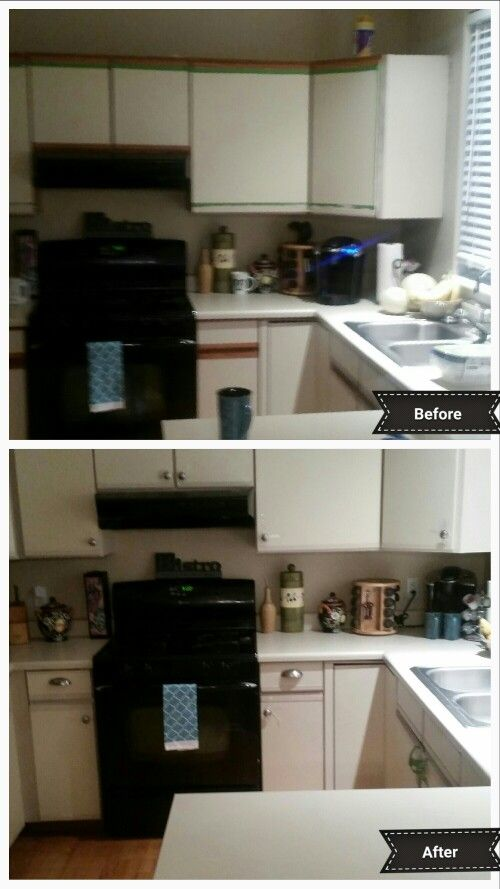 Finally updated my hideous melamine laminate cabinets. So ...