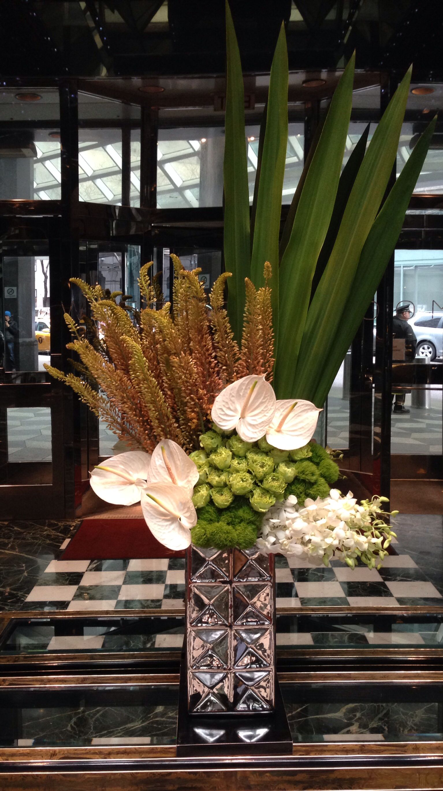 flower arrangement for office reception yellows for more hotel design
