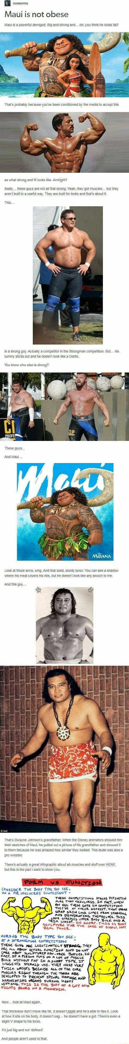Vosworms Maui is not obese Maul is a powerful demigod. Big and strong and... oh, you think he looks fat? as what strong and fit looks like. Amiright? Sadly... these guys are not all that strong. Yeah, they got muscles... but they aren't built in useful way. They are built for looks and that's about it. This. is a strong guy. Actually a competitor in the Strongman competition. But... his tummy sticks out and he doesn't look like a Dorito. 'You know who else is strong? These guys And Maul Look at those arms, omg. And that solid, sturdy torso. You can see a shadow where his meat covers his ribs, but he doesn't look like any slouch to me. And this guy rt That's Dwayne Johnson's grandfather. When the Disney animators showed him their sketches of Maul, he pulled out a picture of his grandfather and showed it to them because he was amazed how similar they looked. This dude was also a pro wrestler There's actually great infographic about ab muscles and stuff over HERE. but this is the part i want to show you. (PORM VS SUNCrrON CONSIDER THE Body TYre You SEE ON A MRUNINERSE ConTestanT THESE ComPeTsizons Srress THAN USEEULNESS, IN CACT, WHEN You THESE GUYS TN ComPETITION THEL'RE AT THEDR WEAKEST. THaT SAAN SKIN Look comes FROm DRETING UPPER THEMSELVES. THI5 STRESSES UPPER Be} Pou SAME OF VERSUS THE Bedy TYPE You See- AT A STRONGMeN COMPETITION * THESE LEGITIMATELY STRONG. THEY ARE ALL ABour ACTYAL EYNCTION AND Do NoT CARE SWLPTUREY Frr-cRee Bopzes.INn ACT, PERSON PUTS ON A Lot oF PUSCLE BULK WrrHour FaT IN asuoer Tome, SYGGESTS STEReLD USE. THEY HONE THICK WASSTS BECAUSE ALL OF THE CoRE. MUSLLES RIGHT THRevG THE TRS? ARE DENELOPED To PRevENT Damage 4 HERNTATING oRGANS DURING Heavy, A GIY Wio LOTS Now... look at Maui again. That thickness don't move like fat. It doesn't jiggle and he's able to flex it. Look at how it sits on his body. It doesn't sag... he doesn't have a gut. There's even a slight V shape to his torso, It's just big and not 'defined' And people aren't used to t