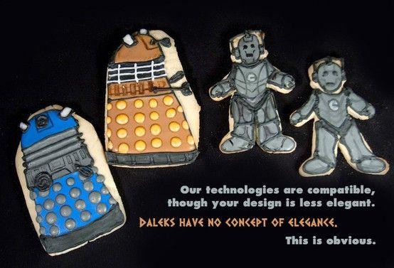 Dalek and Cybermen cookies from sweetcreaturesbakeshop.com