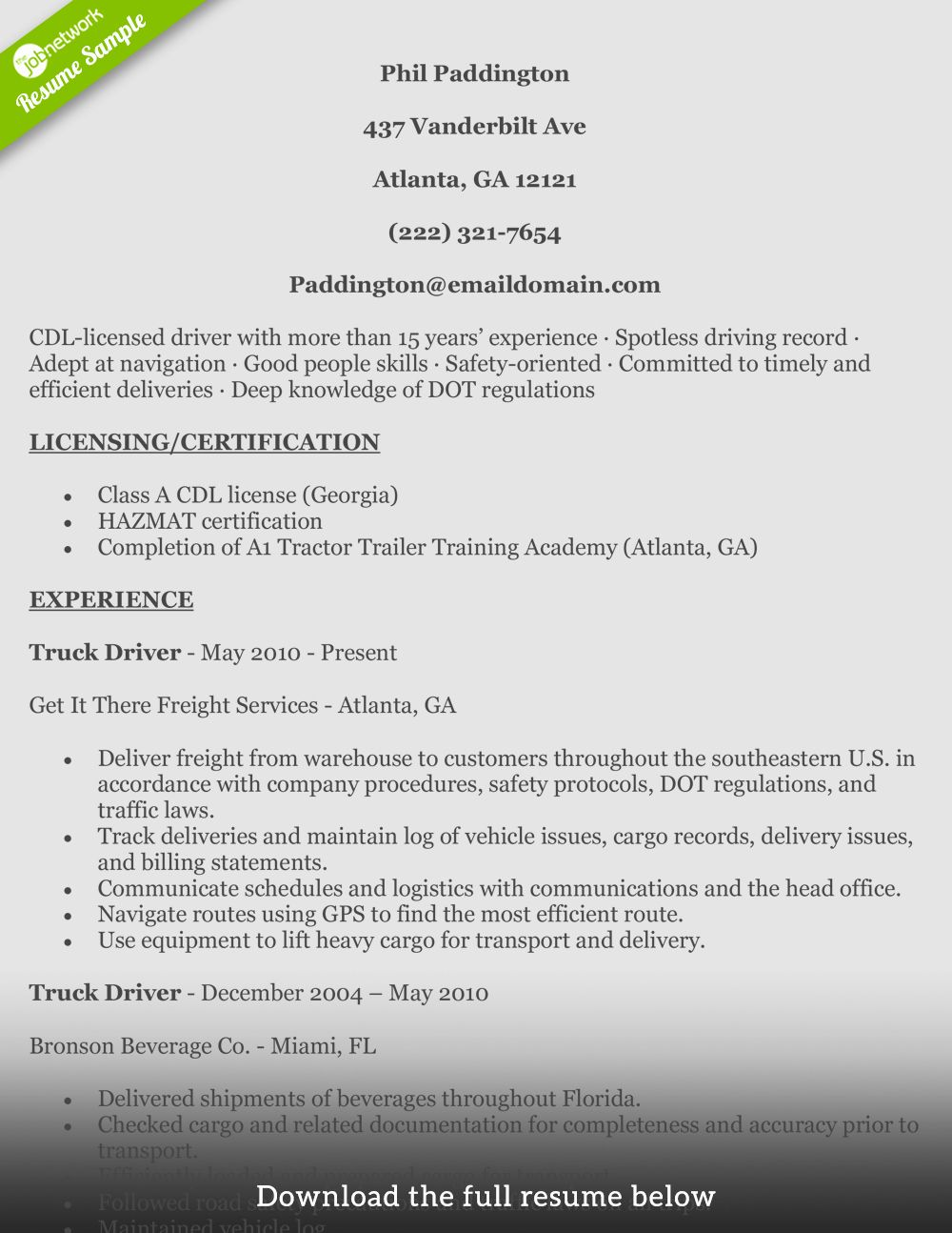 Truck Driver Resume Examples Lovely How To Write A Perfect Truck