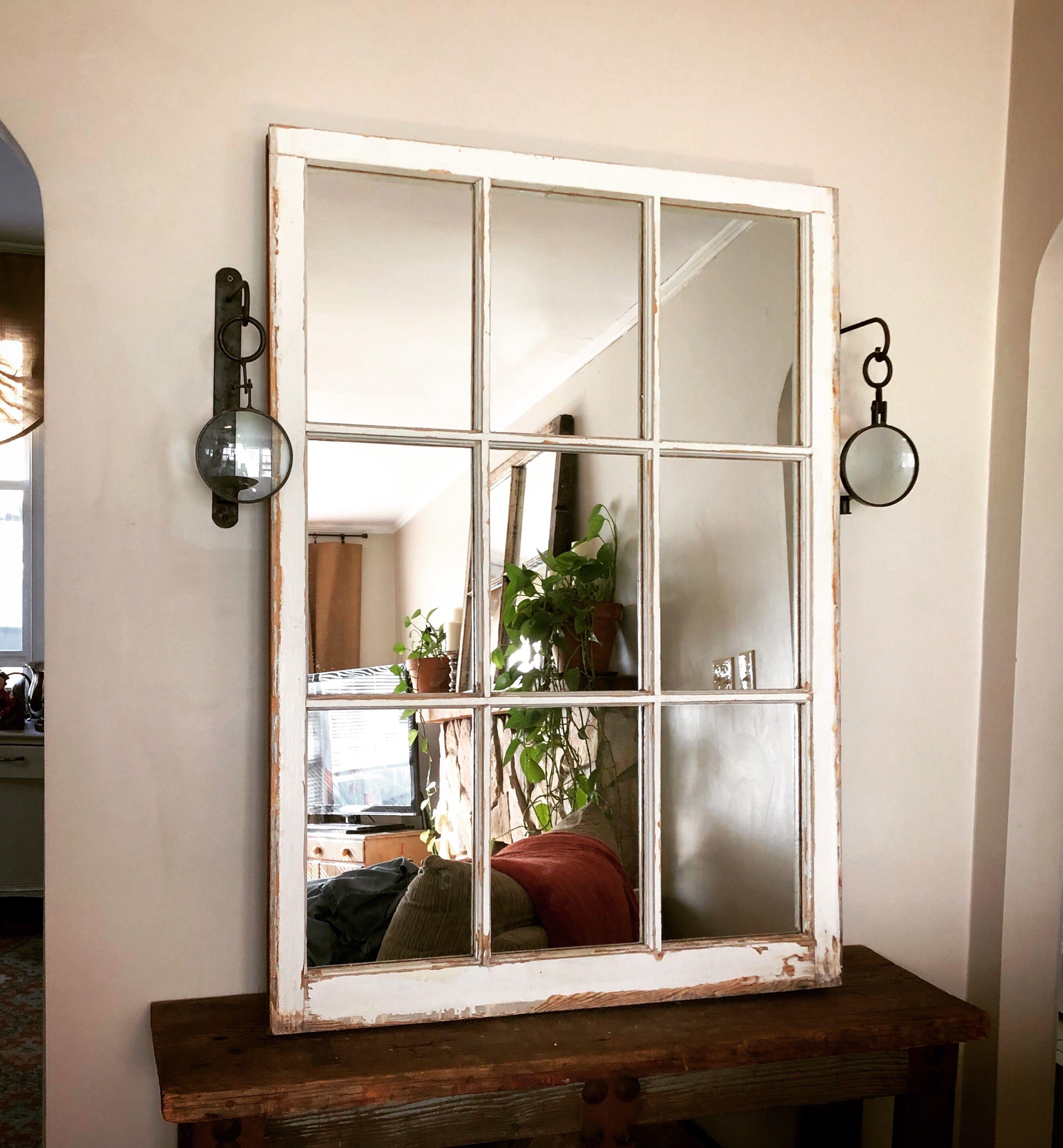 large white farmhouse mirror