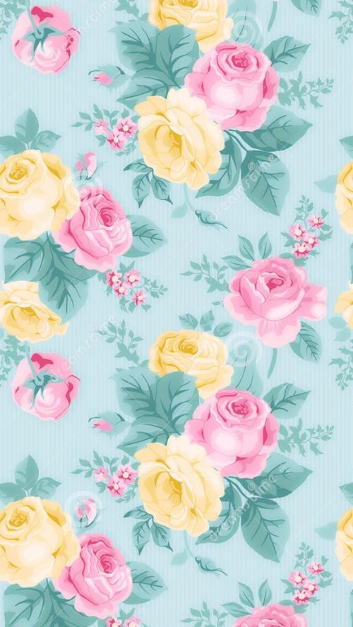 Mint Pink Yellow Pastel Vintage Floral Iphone Phone Wallpaper