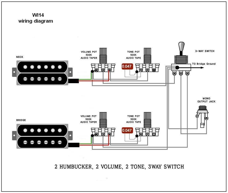 Guitar Wiring Diagram Active 1 Volume 2 Pickups 3 Way Switch A Single Two Wire Humbucker Cigar Box Nation Electric Diagrams And Schematics Wi14