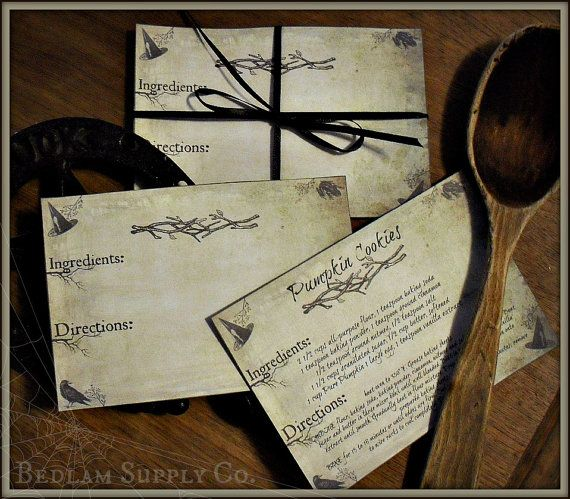 the kitchen witch set of 15 recipe cards by bedlamsupplyco