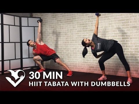 30 Minute HIIT Tabata Workout With Weights At Home   Total Body Dumbbell  Training   YouTube