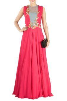 04aa355724a6 Bright Raspberry Waist Cut Flare Gown by Anushree Agarwal