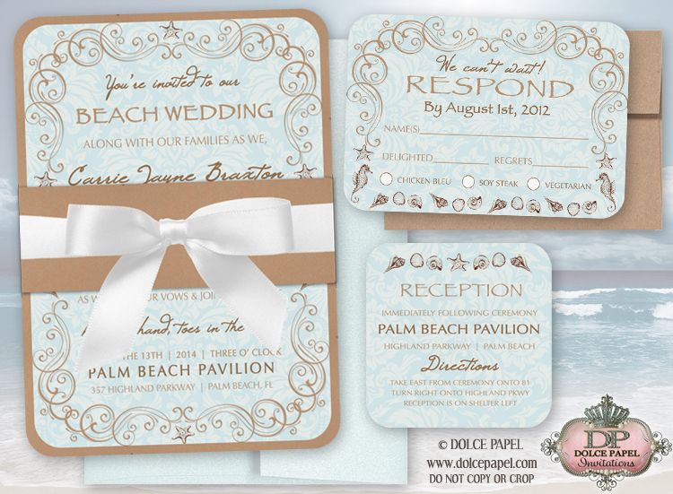 Vintage Beach Wedding Invitations Set 5x7 Double Layered With Belly Band Ribbon