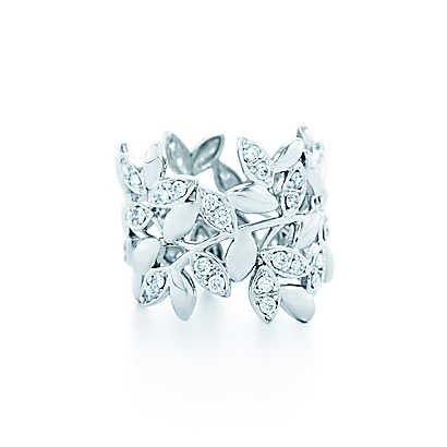 Tiffany & Co. -  Paloma Picasso® Olive Leaf band ring in 18k white gold with diamonds.