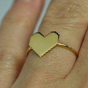 Mini pixel heart ring