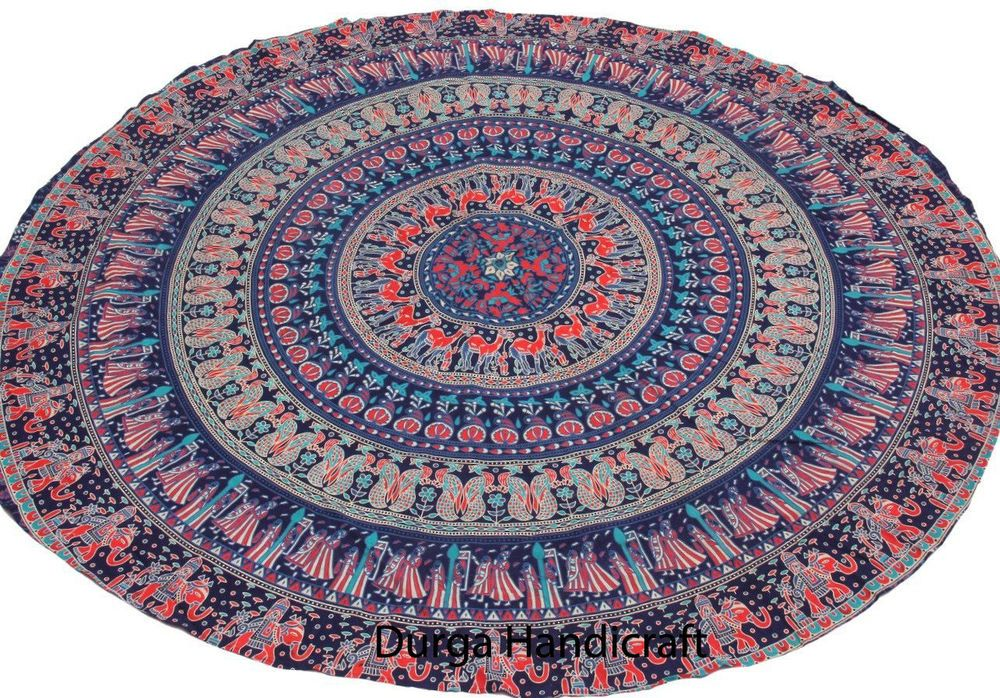 Round Tapestry Throw Hippie Picnic