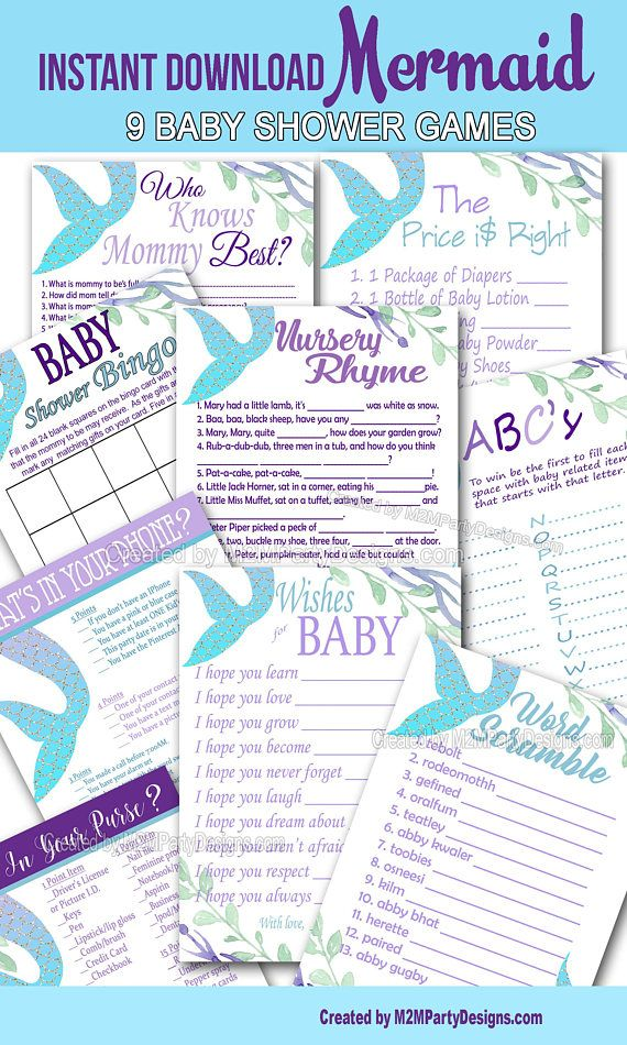 Mermaid Baby Shower Game Cards Bundle Set of 9 Shower Games, Printable mermaid baby shower, Digital File, Instant Download