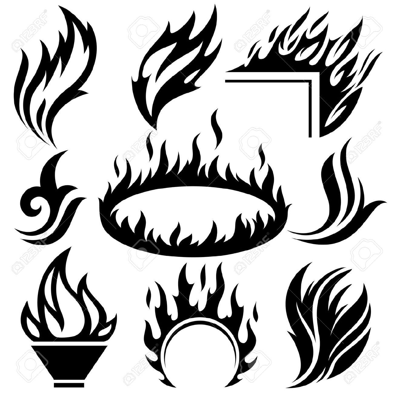 Fire Flame Tattoo Set Stock Vector Tribal