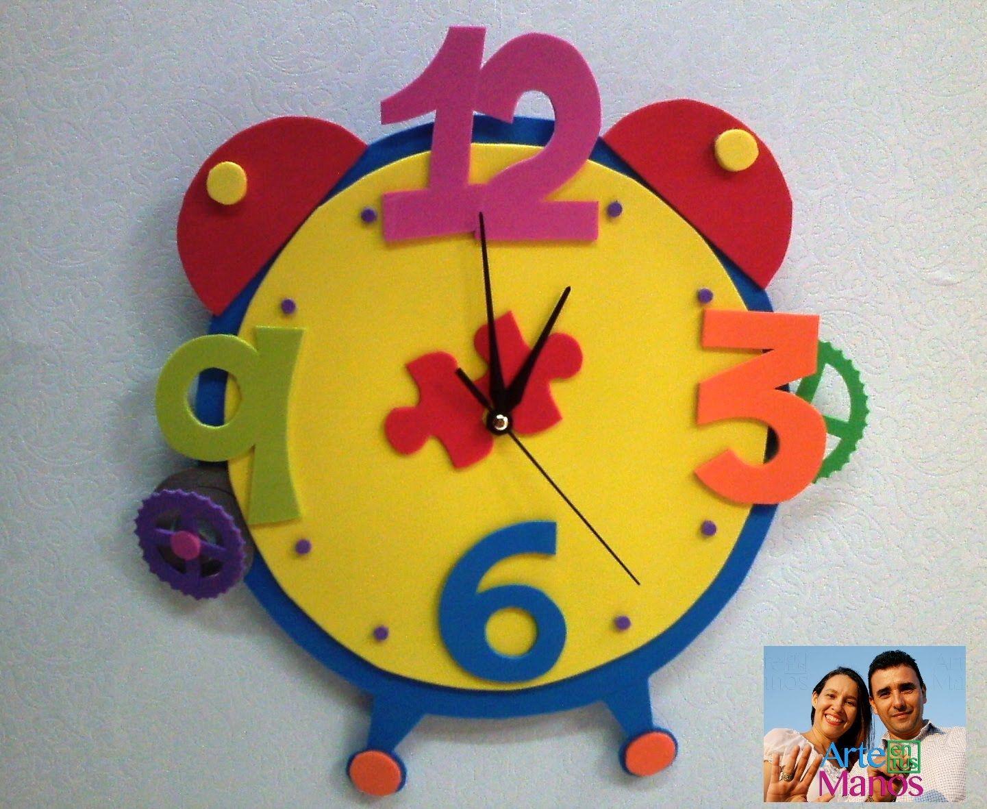 Reloj en foami con mecanismo paso a paso foami clock - Manualidades relojes infantiles ...