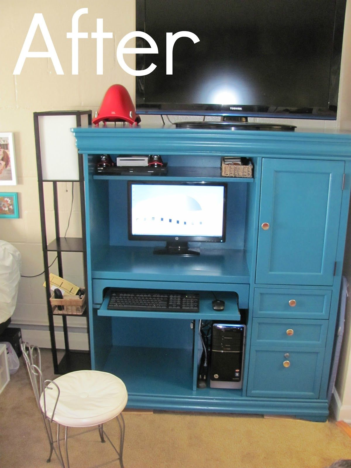 Repaint an entertainment center turquoise! Use as a desk