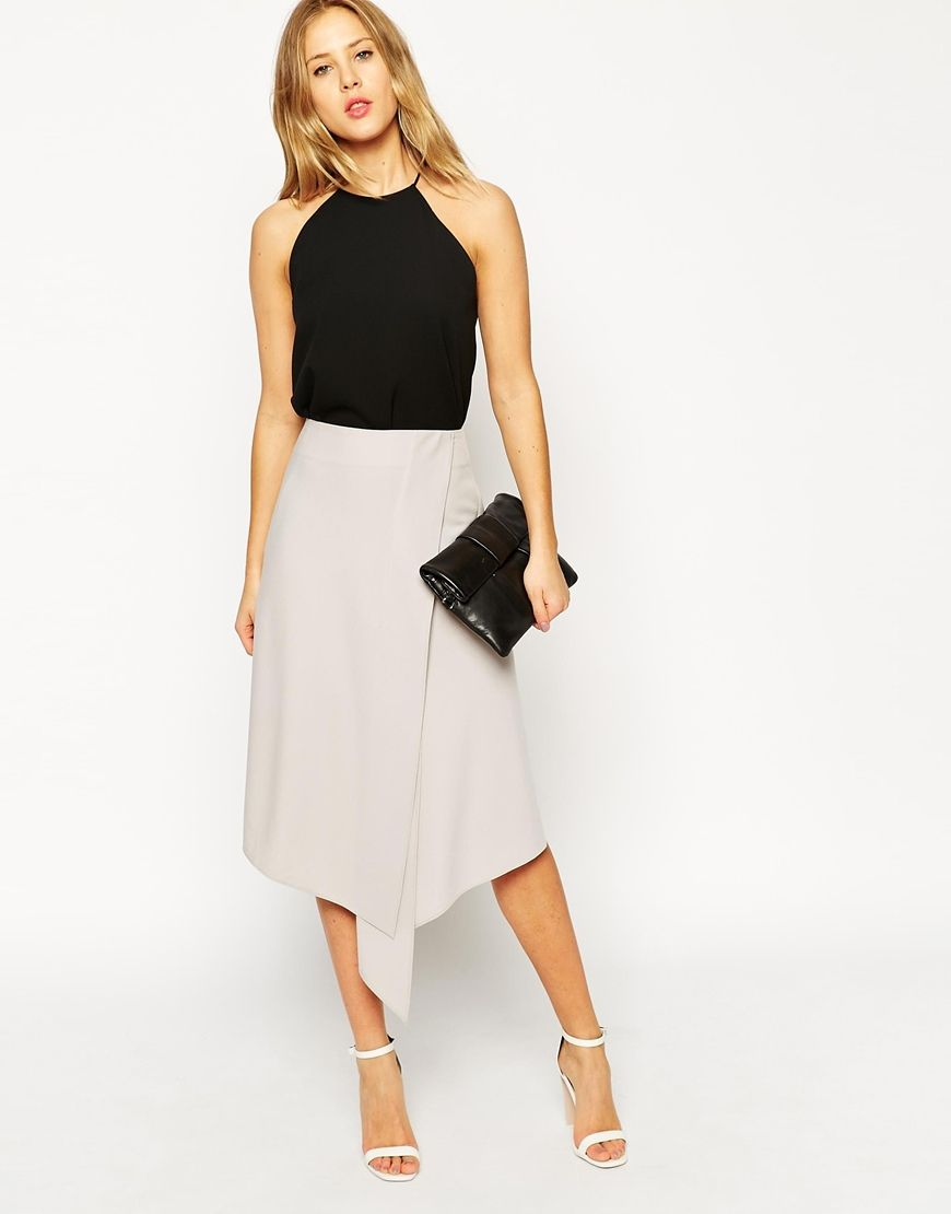 Midi Skirt With Soft Asymmetric Wrap | Wraps, Asos uk and Work wear