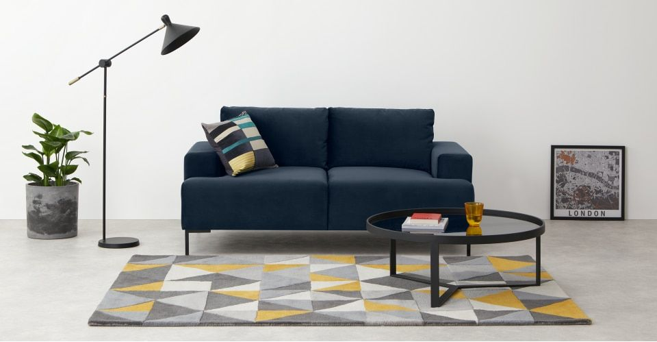 Frederik 2 Seater Sofa Sapphire Blue Velvet Small Living Room Chairs Sofas For Small Spaces Grey Corner Sofa
