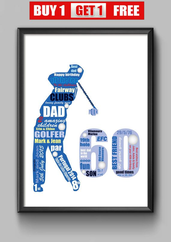 60th Birthday Gift For Golfer 60th Idea For Dad Personalised Gift
