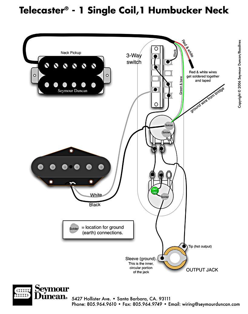 Tele Wiring Diagram - 1 single coil, 1 neck humbucker. My other wiring  option. Only problem is getting the humbucker to play nice with the single  coil ...